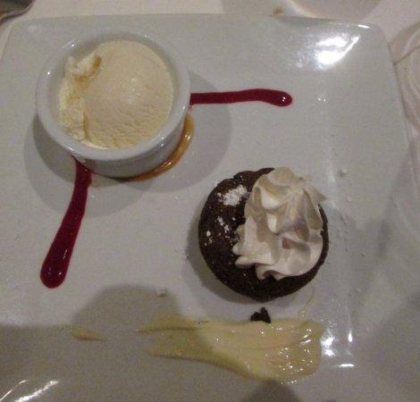 Ruth's Chris Steak House: Chocolate Bouchon with Vanilla Ice Cream