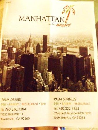 Manhattan in the Desert: Extensive menu