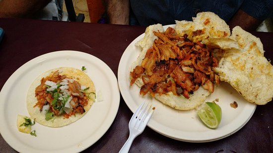 El Fogon: On the left is a taco and the right is a torta, a soft bun sandwich with your choice of meat