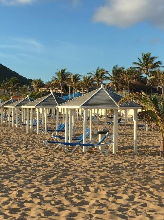 St. Kitts Marriott Resort & The Royal Beach Casino: Chairs and cabanas on the beach - first come, first served