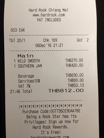 Hard Rock Cafe: A little bit pricey, but not too bad. Notice the added gratuity, which is unusual in Thailand.