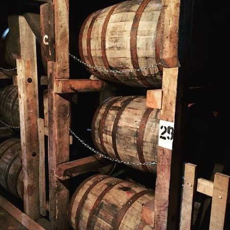 Loretto, KY: Bourbon barrel racks.