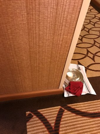 Tempe Mission Palms Hotel and Conference Center: Room Service Tray still outside door at 10:50 AM. Placed outside at 11:00 PM night before.