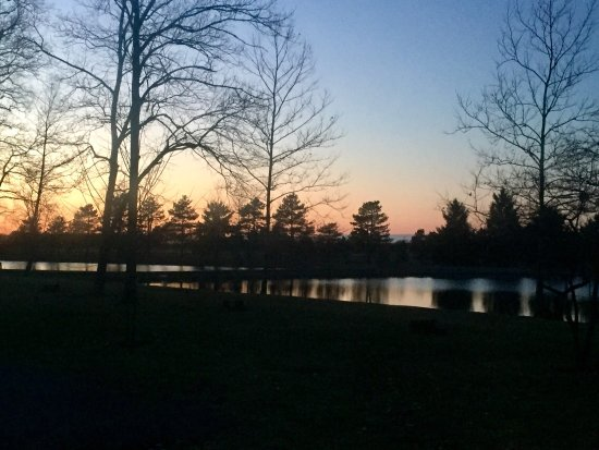 Bluffton, OH: One of the two picturesque on-site lakes at dusk.