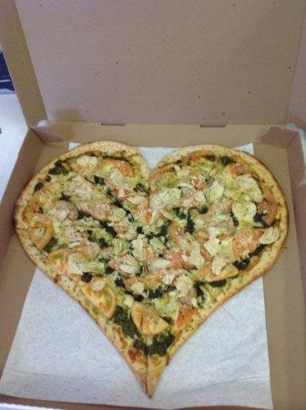 Walpole, MA: Leo's Pizzeria original Heart Shaped pizza for Valentine's Day !