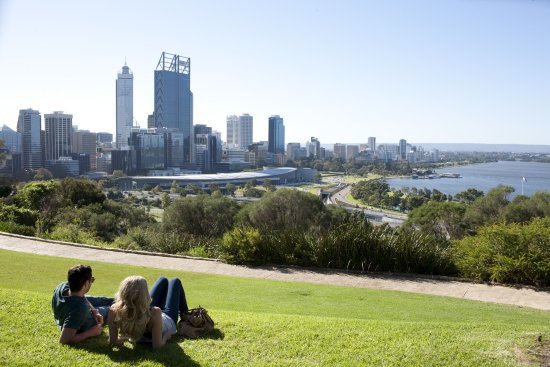 Kings Park Botanical Gardens - view of Perth City Skyline, Swan