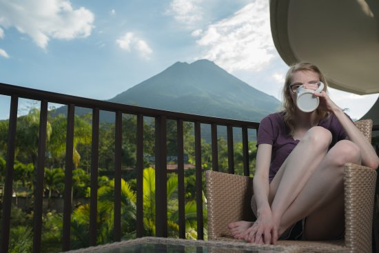The Royal Corin Thermal Water Spa & Resort: Enjoying Coffee on the Balcony with Arenal in View