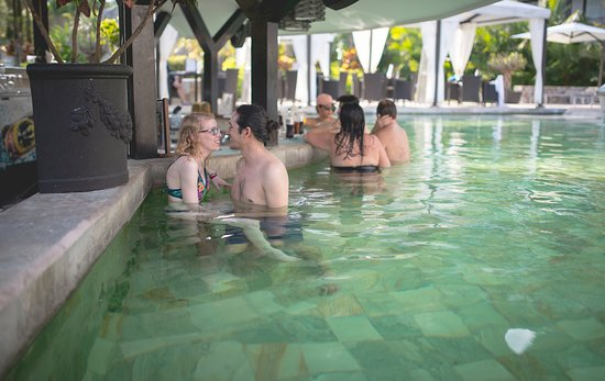 The Royal Corin Thermal Water Spa & Resort: 98 Degree Heated Pool with Bar & Underwater Stools to Sit On