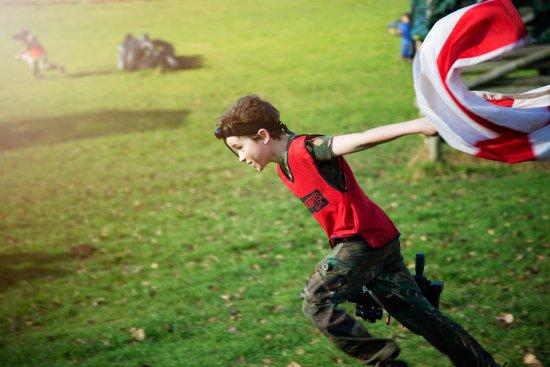 Longhope, UK: Capture the flag action shot