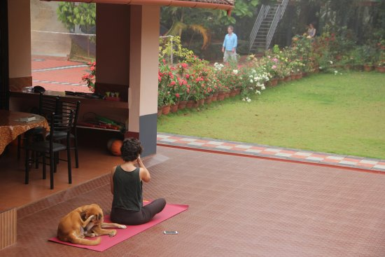 Mananthavady, Inde : the central courtyard is handy for yoga and chatting