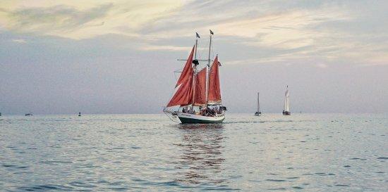 Catamaran Echo: Red sails in the sunset