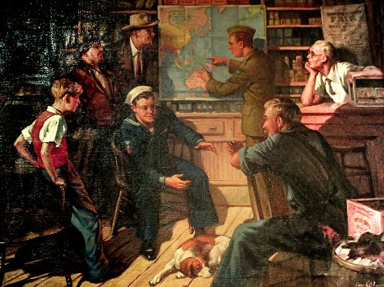 Independence Seaport Museum: A painting depicting a young sailor mesmerizing the locals with the tales of his adventures