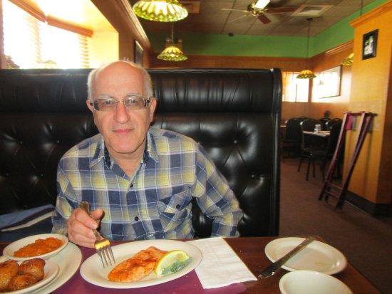 Warwick, RI: Louis eating his meal.