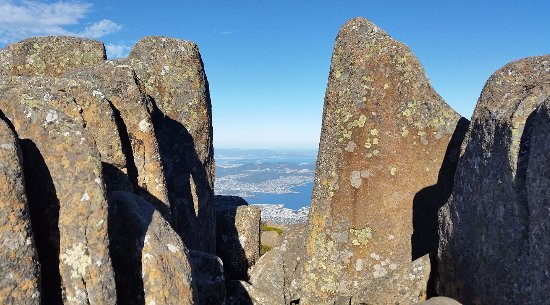 Mount Wellington: Magnificent views peering through some of the boulders.