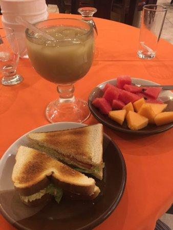 Hotel Pasabien: Cena, sandwich de pollo y frutas + fresco de pepita.