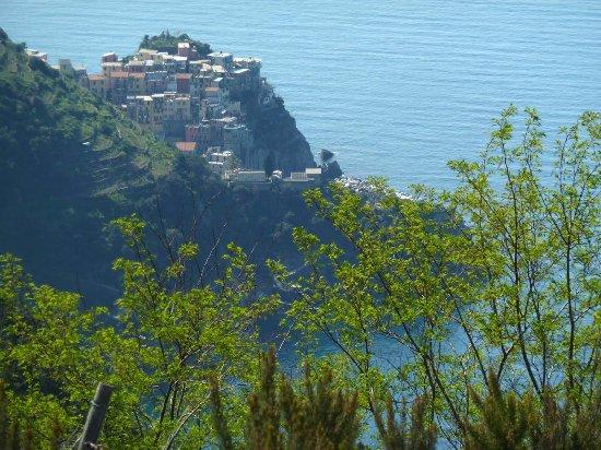 Riomaggiore, Italy: Blick von den Weinbergen bei Groppo auf Manarola