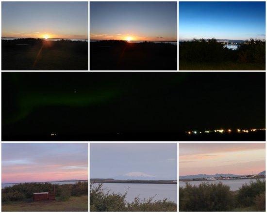 Borgarnes, Iceland: Sonnenuntergang, Nordlicht, Sonnenaufgang