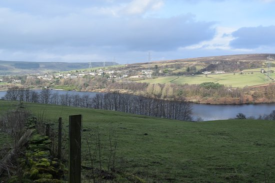 Glossop, UK: view of reservoir from Longdendale Trail