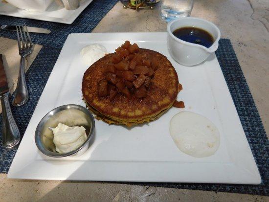 Latitude's Restaurant: Quinoa Almond Pancakes (Sweet Ricotta, Apple Chutney, and Granola)