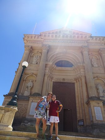 Xewkija, Malta: The front of the church.