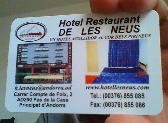 Hotel Restaurant De Les Neus CARTE DE VISITE