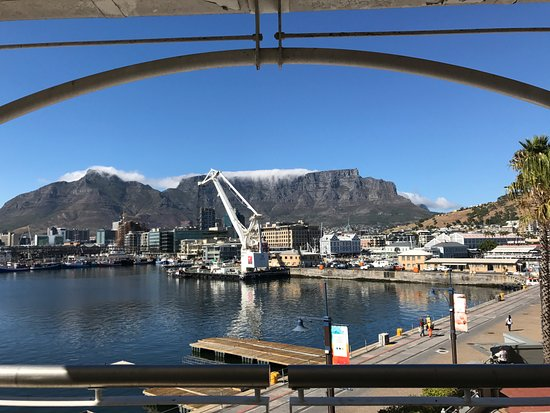 The Table Bay Hotel: The harbour is a working harbour and Table Mountain is in the background