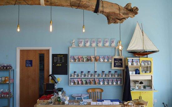 Brynsiencyn, UK: Shop counter + driftwood lighting