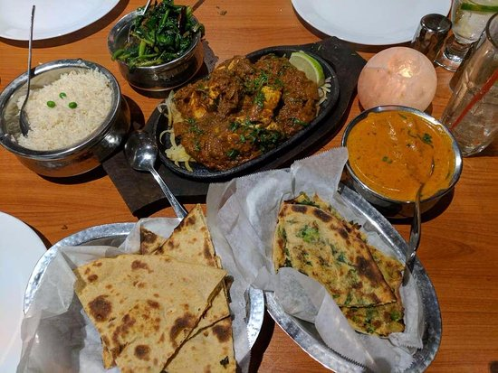 "Scotts Valley, CA: breads, tofu tikka, butter ""chicken"", spinach dish"