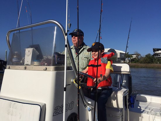 Kids Fishing Billy Bee Charters: Captain Billy and his first mate
