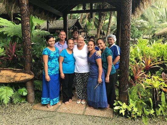 Upolu, Samoa: The staff saying goodbye to us