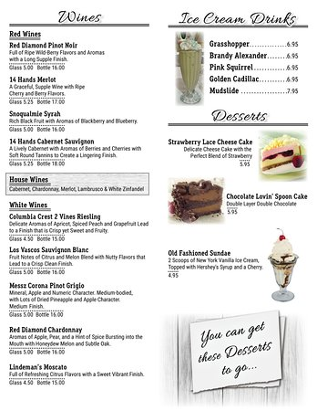 Club Oasis: Wine & Dessert Menu