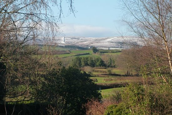 Moretonhampstead, UK: View from Guest Lounge after a dusting of snow over Dartmoor
