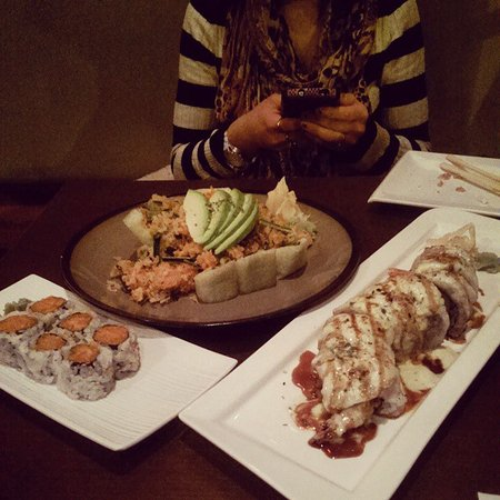 Momiji Sushi Bar and Grill : Blue Mountain Roll, Spicy Salmon Roll, Fire White Dragon Roll