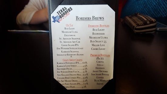 Richmond, TX: Beer menu has a nice selection