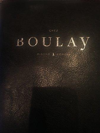 Chez Boulay-bistro boréal: The cover to a delicious menu