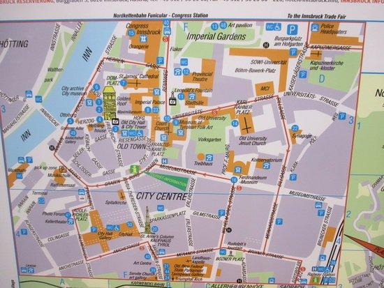 map of MariaTheresienStrasse and Innsbruck Altstadt Old Town