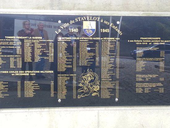 Stavelot, Belgique : Rue du Chatelet Memorial list of victims