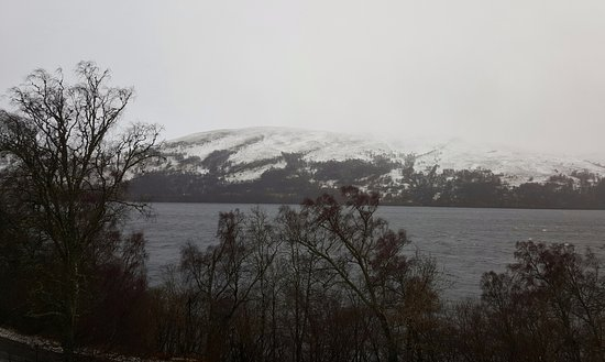 Kinloch Rannoch, UK: view from the conservatory on snowy day