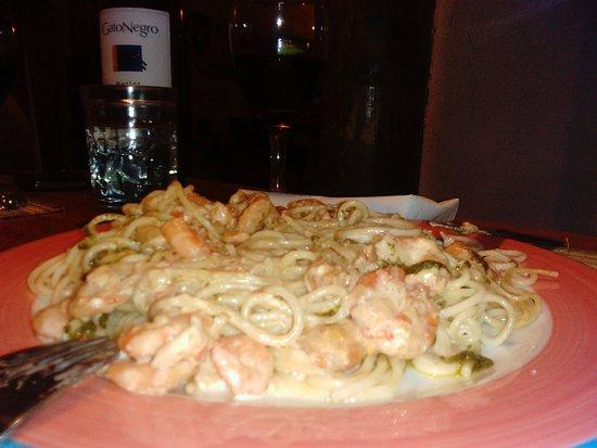 Divanga Bar Restaurant: Los spaguettis con camarones