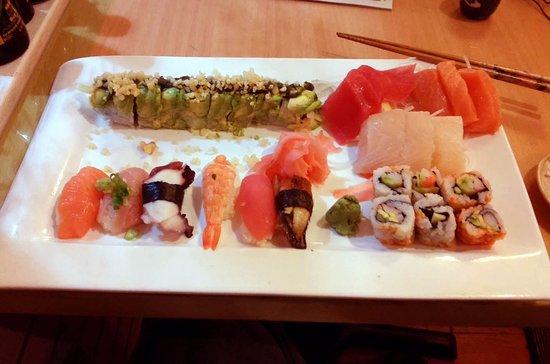 Sushi Boat: Sushi/Sashimi Dinner with Added Spicy Shrimp Dragon Roll