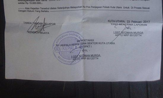 Astana Batubelig Villas : Letter of the police report