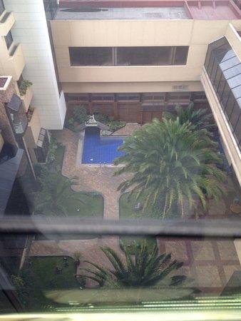 Swissotel Quito: Vista de la piscina y solárium ( que al ser en un patio interior solo da el sol parcialmente. Fo