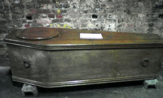 Zinc lined coffin with discrete identification lid used by Ramsgate Funeral parlour.