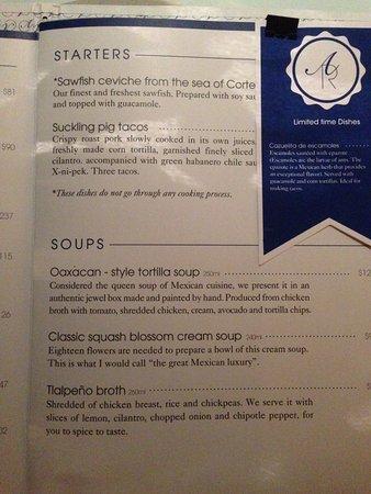 Menu - Picture of Azul Condesa, Mexico City - TripAdvisor Cuisine Itin Rante on