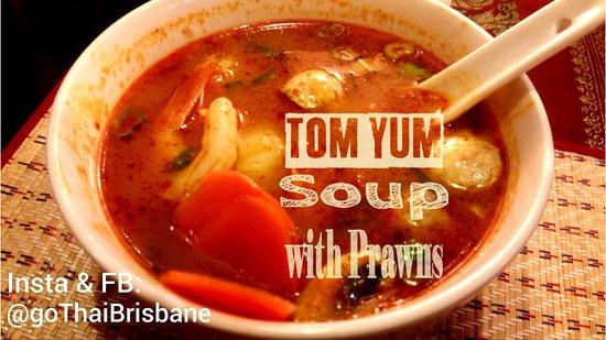 Moorooka, Australia: Tom Yum Prawn Thai hot & soup soup with mushrooms and lemongrass + prawns