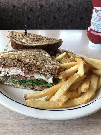 Massillon, OH: The Roasted Turkey Club on Marble Rye with Fries