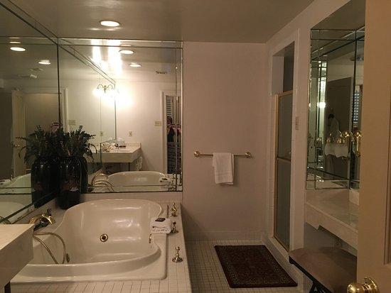 dauphine orleans hotel jacuzzi tub walkin shower sitdown vanity