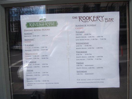 Raven & Rose: Carraige House List and Bar List
