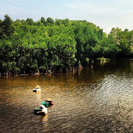 Banyuwangi, Indonesia: Aktifitas warga Kampong PUSAN mencari kijing (kerang) di sungai