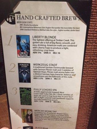 Grove City, Pensilvania: Beer menu